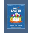 Happy Easter poster Eggs Grass Flowers Poster vector image vector image
