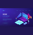 income statement isometric 3d landing page vector image vector image