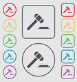 judge hammer icon Symbols on the Round and square vector image vector image