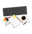 keyboard with office supplies and glasses vector image vector image