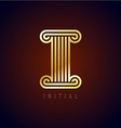 letter i column logo vector image vector image