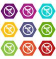 no wasp sign icon set color hexahedron vector image vector image