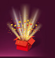 open red gift box and colour confetti bright rays vector image