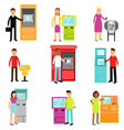 people doing atm machine money deposit or vector image