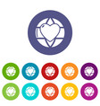 planet heart icons set color vector image vector image