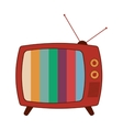 retro classic tv with antenna and colored stripes vector image vector image