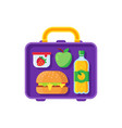 school lunch in lunchbox healthy dinner in food vector image vector image