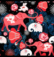 seamless bright festive pattern of red elephants vector image vector image