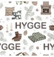 seamless pattern with hygge lettering and vector image vector image