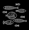 set of cute sea fish vector image vector image