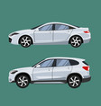 set of vehicles suv and sedan in side view vector image
