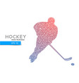 silhouette of a hockey player from triangles vector image