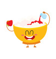 smiling cottage cheese bowl character pouring vector image vector image