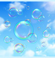 soap bubbles and sky background vector image vector image
