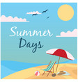 summer days beach umbrella and chair background ve vector image vector image