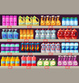 supermarket shelves with cleaning agents vector image