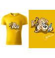 t-shirt design with cartoon leopard