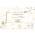 wedding invitation wild rose luxury shiny golden vector image