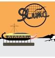 Yalta the embankment ship restaurant orange vector image vector image