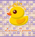 yellow toy duck for a bath on a pretty background vector image