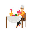 senior woman character sitting near the table vector image