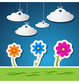 Flowers and Clouds Made From Paper With Blue Sky vector image