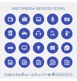 Multimedia devices icon set Multicolored square vector image