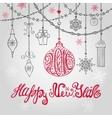 2016 New year card with ballgarlands and vector image