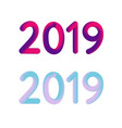 2019 new year 3d card banner design vector image
