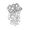 abstract face with flowers one line draw vector image