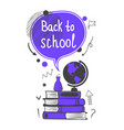 back to school concept with violet speech bubble vector image vector image