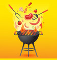 bbq grill party with food flat style for card or vector image