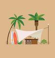 beach bar tent scene vector image vector image