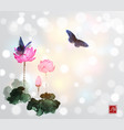 big butterflies and lotus flowers on white glowing vector image vector image
