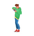 boy playing on smartphone mobile phone games vector image