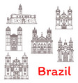 brazil landmarks architecture line icons vector image vector image