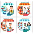 Car mobile pharmacist and computer store vector image vector image