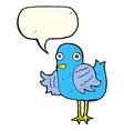 cartoon bird waving wing with speech bubble vector image