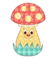 Cartoon patchwork mushroom 2 vector image vector image