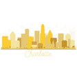 charlotte north carolina usa city skyline golden vector image vector image