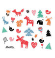 christmas hand drawn stickers in nordic style vector image vector image