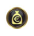 euro in bag icon button gold copy vector image