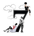 fashion girls in sketch style with number seven vector image