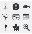 Fishing icons Fish with fishermen hook symbol vector image vector image