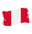 flag of peru grunge abstract brush stroke vector image