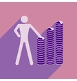 Flat with shadow icon man and stack of coins vector image vector image