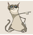 funny cartoon cat with glasses shows a finger vector image vector image