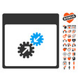 gears integration calendar page icon with love vector image vector image