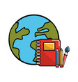 global planet with rings notebook and school tools vector image vector image