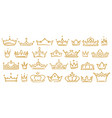 gold sketch crowns hand drown royal diadems vector image